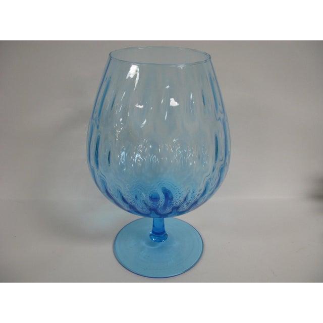1960s Empoli Aqua Blue Optic Glass Snifter Vase For Sale - Image 12 of 13
