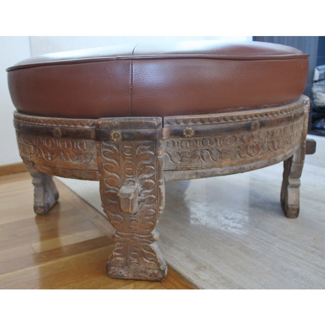 Moroccan Carved Tribal Wood Ottoman - Image 5 of 6