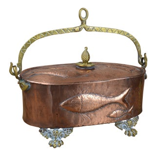 Copper and Brass Lidded Fish Poacher For Sale