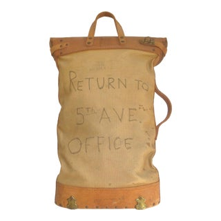 Vintage Office Mail Bag Canvas and Leather For Sale