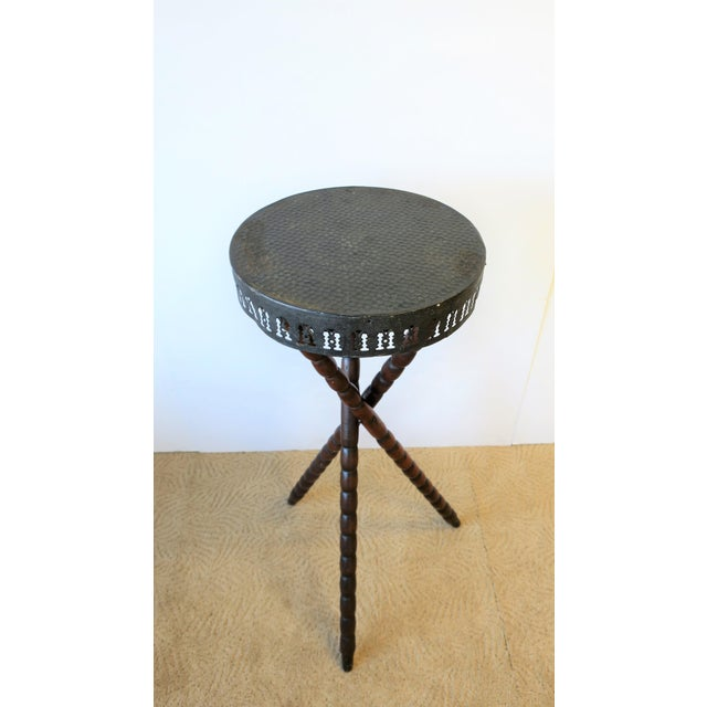 20th Century Rustic Black and Brown Tripod Side Table For Sale - Image 9 of 13