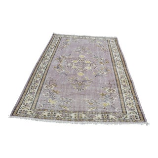 Modern Turkish Oushak Handwoven Purple and Beige Wool Floral Rug