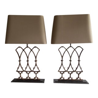 French Architectural Table Lamps (Pr.) 17 x 5 x 33 Antique Iron Architectural Fragments Excellent For Sale