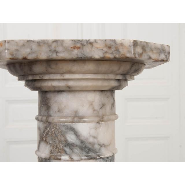French French 19th Century Grey-And-White Marble Pedestal For Sale - Image 3 of 11
