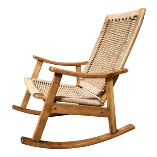 Danish Modern Beech Rocking Chair For Sale