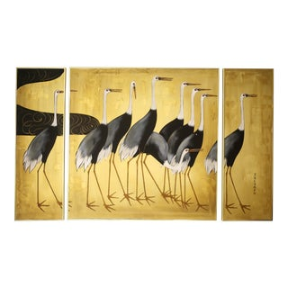 Vintage Good Luck Cranes Triptych Painting For Sale