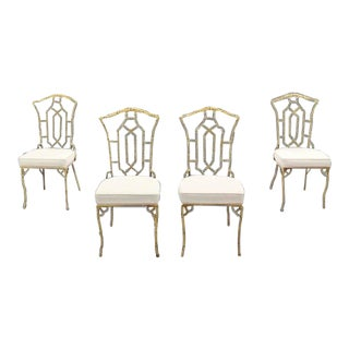Vintage Mid Century Cast Aluminum Faux Bamboo Chairs- Set of 4 For Sale