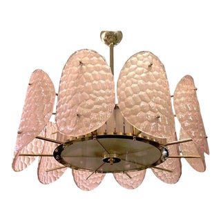 Bespoke Italian Crystal Rose Pink Murano Glass Brass Chandelier / Flushmount For Sale
