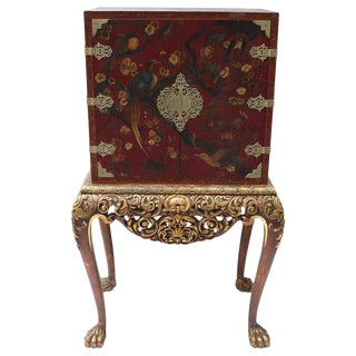 Chinoiserie Cabinet on Stand For Sale