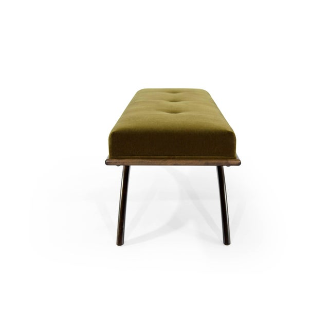 Early 21st Century Convex Bench in Olive Mohair For Sale - Image 5 of 10