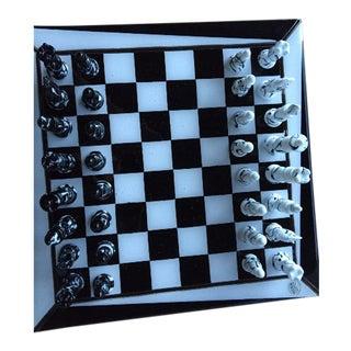 Italian Murano Art Glass Chess Board - 33 Pieces For Sale
