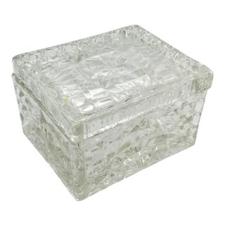 Vintage Mid-Century Crystal Glass Trinket Box For Sale