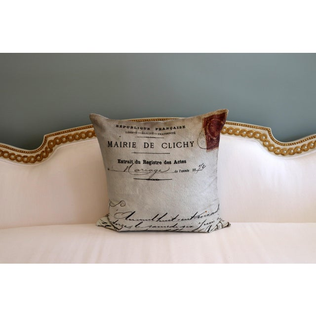 Paris Photo Pillow French Marriage Document Dated 1874 For Sale - Image 9 of 13