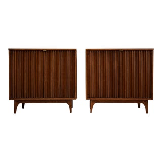 Walnut Mid Century Credenza Chests - a Pair