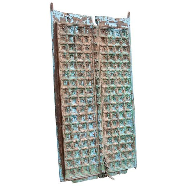 Teak & Iron Turquoise Doors - a Pair - Image 3 of 7