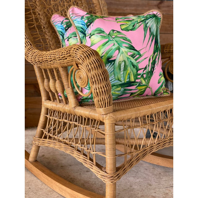 Camel 1980's Vintage Fiddlehead Wicker Rocking Chair For Sale - Image 8 of 12