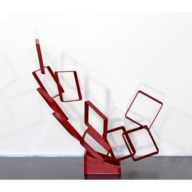 Red 1990s Contemporary Red Metal Abstract Table Sculpture Signed Cynthia McKean For Sale - Image 8 of 12