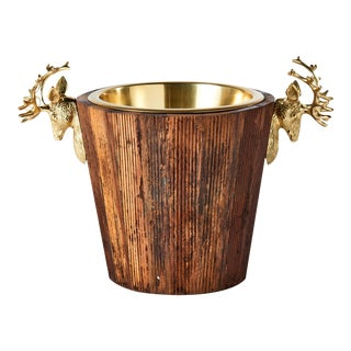 Wine Cooler with Brass Stags Head For Sale