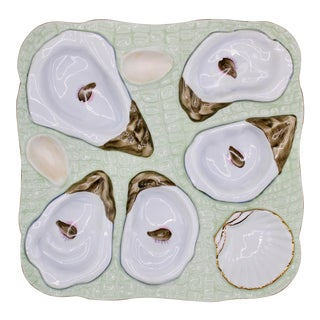 1960s Mint Green Oyster Plate For Sale