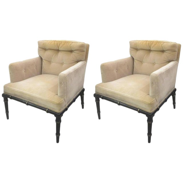 Pair of Upholstered and Ebonized Faux-Bamboo Armchairs For Sale