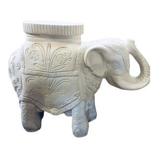 1970s Vintage White Plaster Elephant Garden Stool For Sale