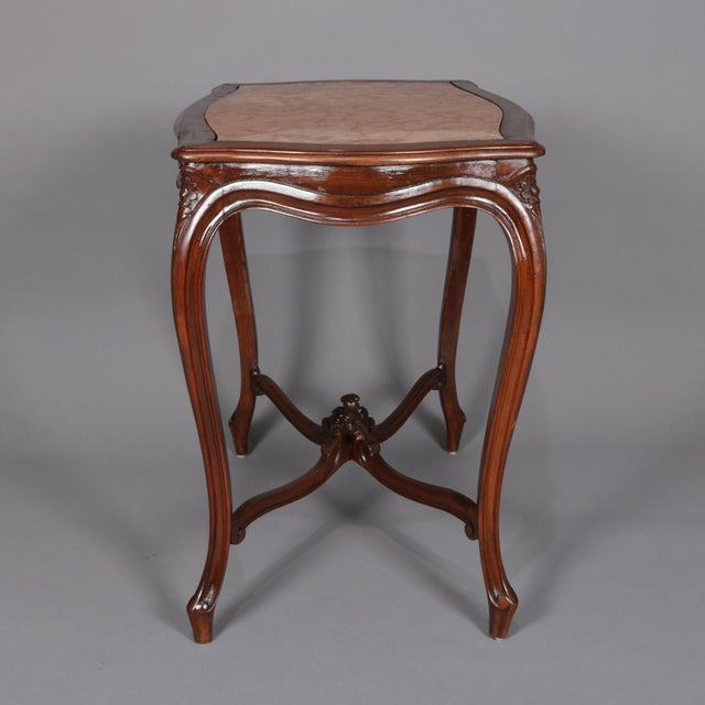 Brown Antique French Louis XV Style Carved Walnut and Marble Center Table, Circa 1900 For Sale - Image 8 of 13