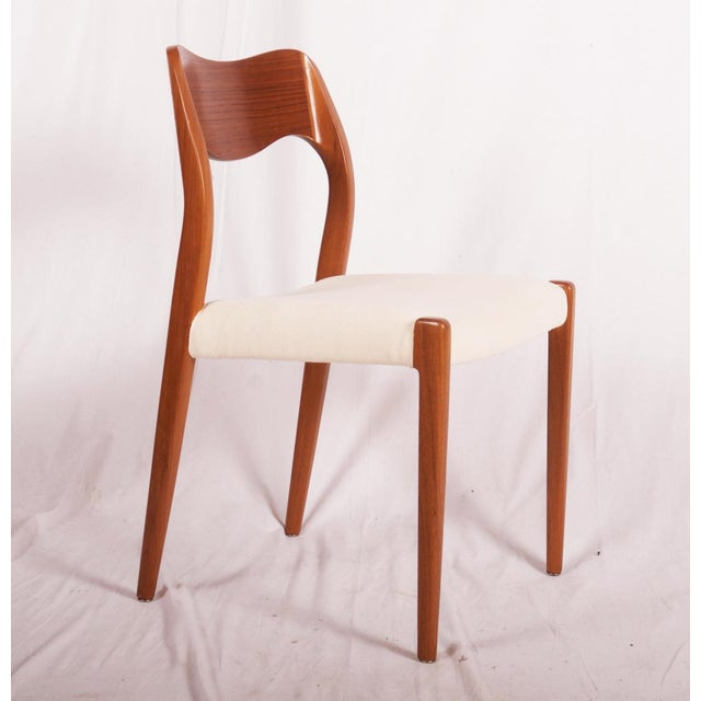 Fabric Model 71 Teak Dining Chairs by Niels Otto Møller for JL Møllers, 1951 For Sale - Image 7 of 11