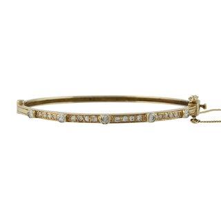 Vintage 14k Gold Diamond Bangle Bracelet For Sale
