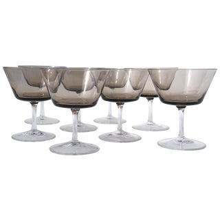 Smoke Brown Mid-Century Cocktail Glasses -Set of 8 For Sale