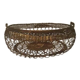 Brass Basket - Mid-Century Brass Filigree Handled Basket For Sale