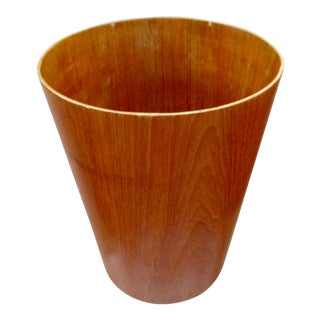 Scandinavian Danish Modern Teak Waste Basket Wastepaper Trash Waste Paper Basket Servex