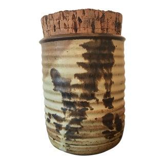 1970s Contemporary Pottery Corked Salt Glazed Jar For Sale