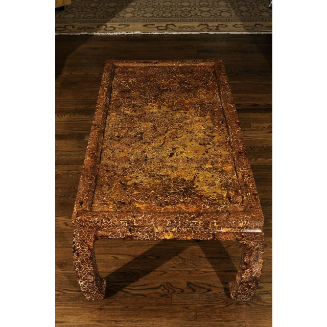 Mahogany Exquisite Mosaic Lacquered Coffee Table in the Style of Enrique Garcel For Sale - Image 7 of 11
