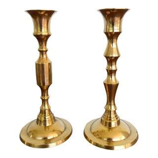 Vintage Mid-Century Brass Candlesticks - a Pair For Sale