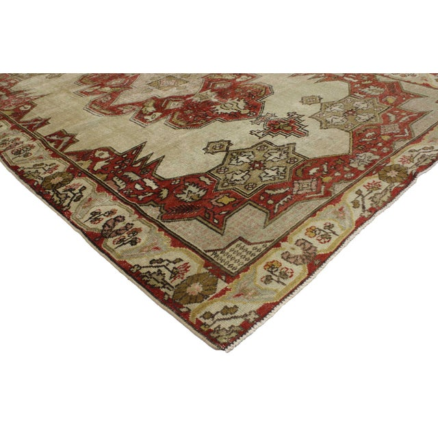 51707 Distressed Vintage Turkish Oushak Rug with Art Deco Aristocrat Style 04'08 x 06'11. This hand knotted wool...