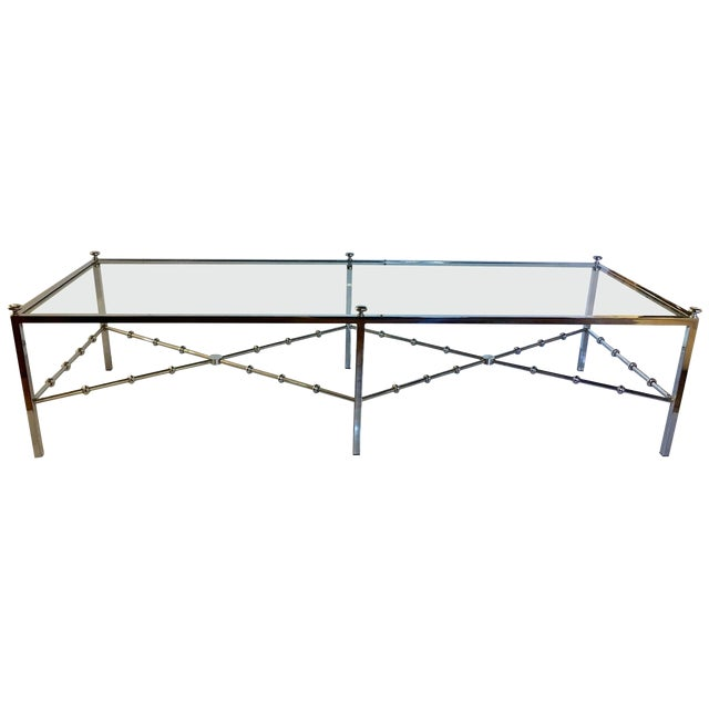 Maison Jansen Style Long Chrome Faux Bamboo Cocktail Table For Sale