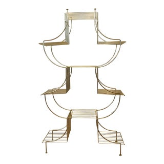 Mid-Century Metal Plant Stand Pagoda Style For Sale