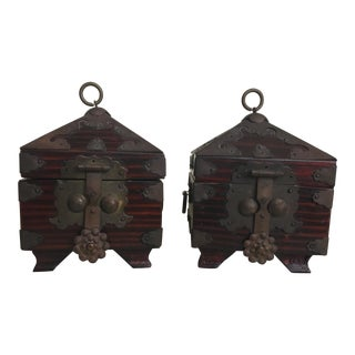 Antique Hinged Korean Boxes - a Pair For Sale