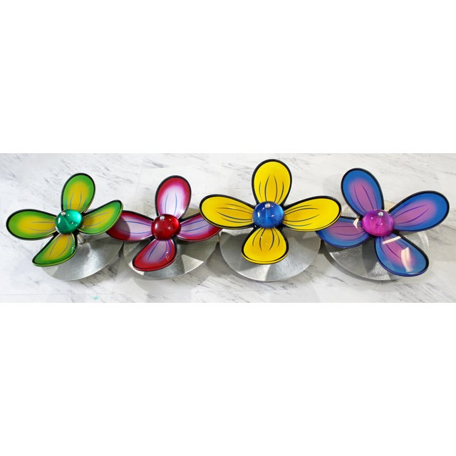 Acrylic Contemporary Polished Metal Colored Lucite Acrylic Flower Wall Sculpture Haziza For Sale - Image 7 of 7