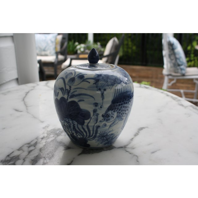 Vintage Blue and White Decorative Ginger Jar with Lid For Sale - Image 4 of 7