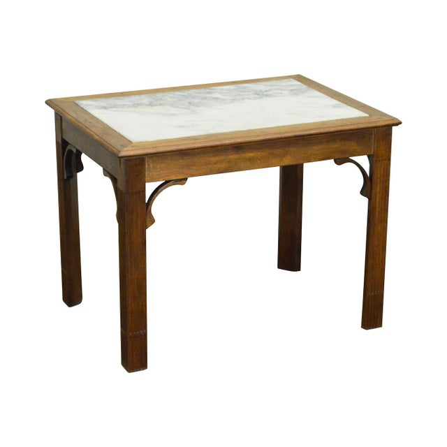 Chippendale Style Custom Walnut Marble Top Side Table For Sale - Image 11 of 11