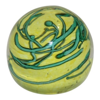 Mid-Century Modern Green on Yellow Paper Weight For Sale