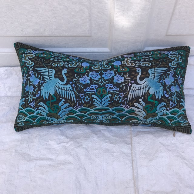 Hollywood Regency Blue & Black Asian Chinoiserie Boudoir Pillow - Image 2 of 6