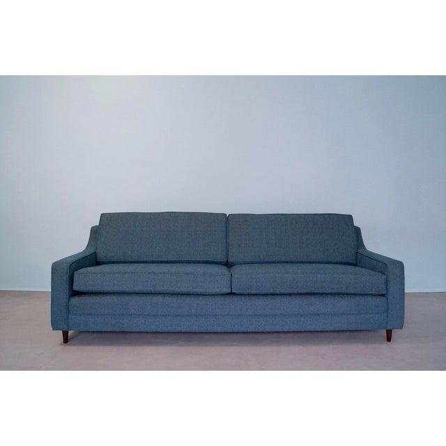 Original Mid-Century Modern Reupholstered Tweed Sofa - Image 6 of 11