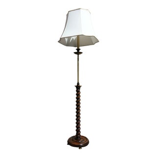 Frederick Cooper Brass Candlestick Floor Lamp With Barley Twist and Silk Shade For Sale