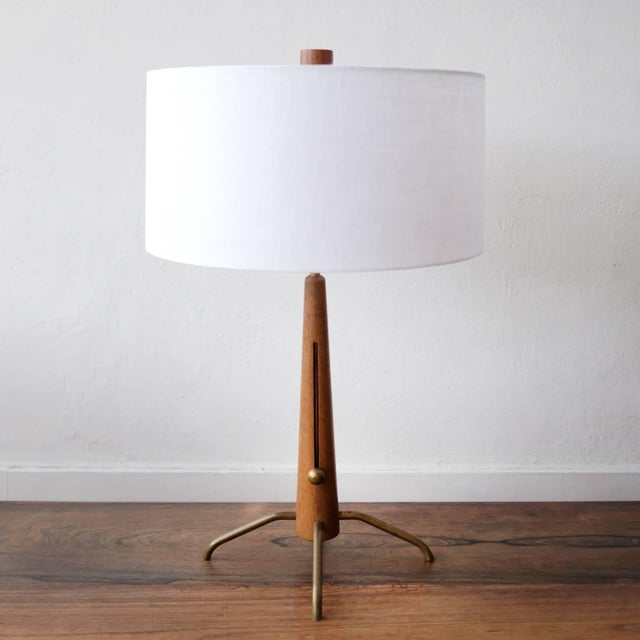 Mid-Century Modern Walnut and Brass Gerald Thurston Adjustable Height Lamps For Sale - Image 3 of 10