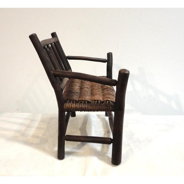 Salesman Sample Old Hickory Settee W/ Original Woven Seat - Image 4 of 6