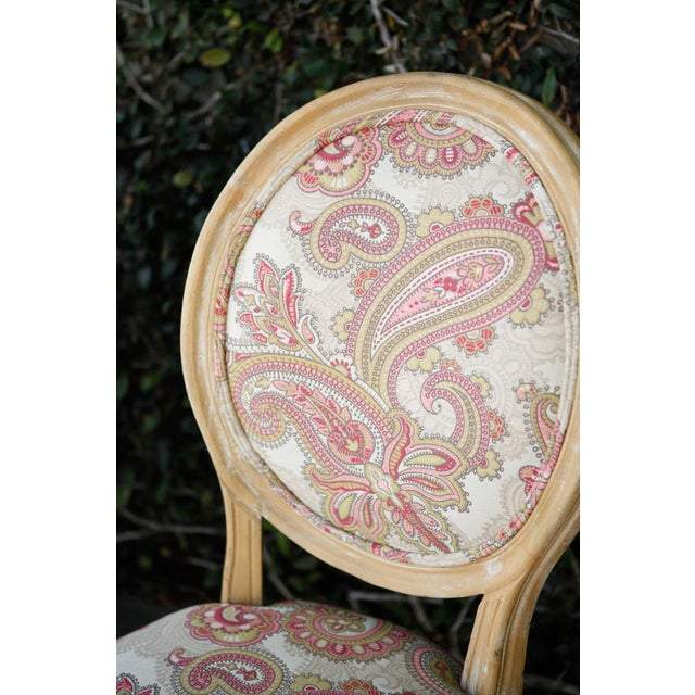 Wood Louis XVI Style Paisley Side Chairs - a Pair For Sale - Image 7 of 7