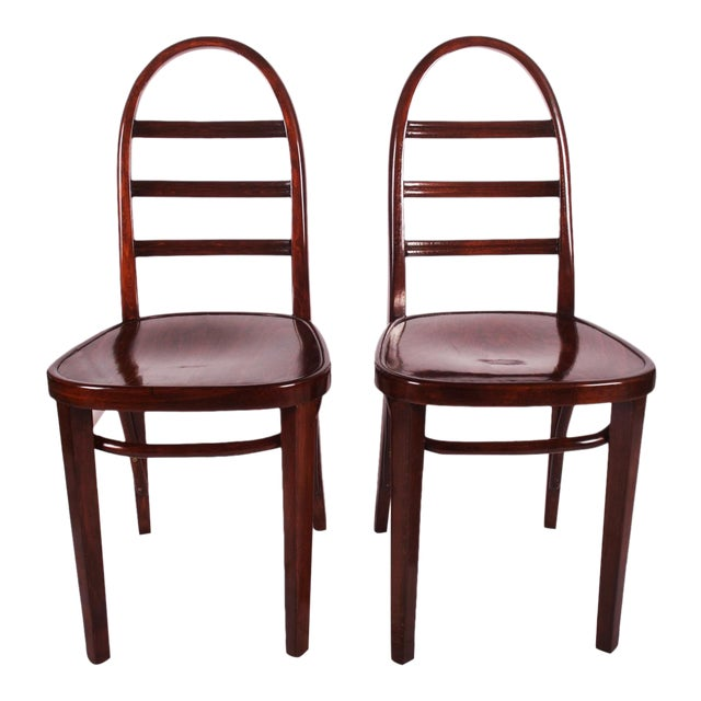 Art Deco beechwood chair by Thonet, 1919 For Sale