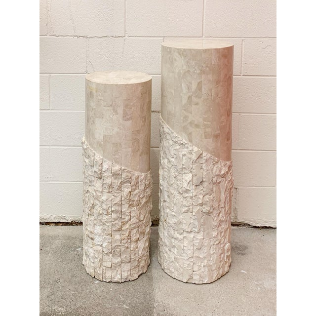 Late 20th Century Late 20th Century Maitland Smith Tessellated Marble Over Wood Pedestals- a Pair For Sale - Image 5 of 5